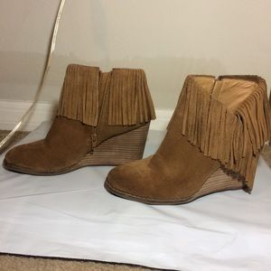 Lucky Brand Suede Fringe Wedge Booties